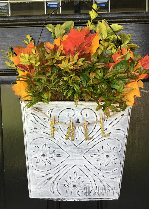 farmhouse, fall, leaves, wall bucket, door hanger