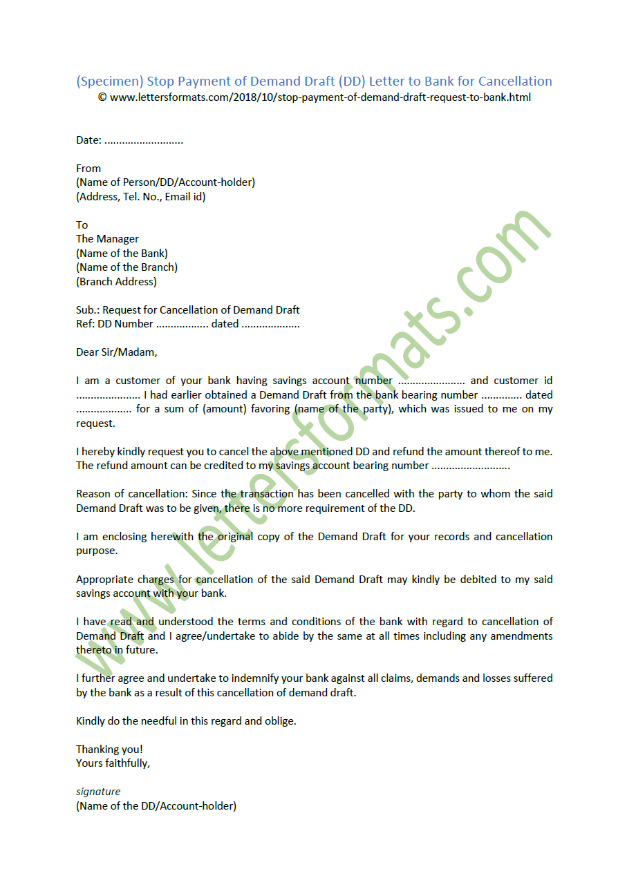 Stop Payment of Demand Draft (DD) Letter to Bank for