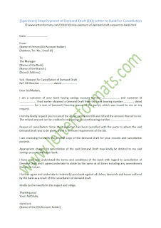 Stop Payment of Demand Draft (DD) Letter to Bank for Cancellation