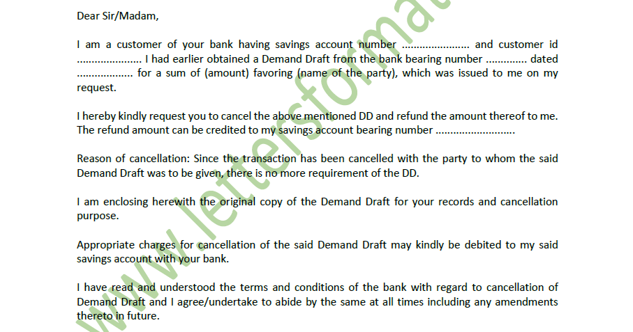 demand draft cancellation letter format axis bank