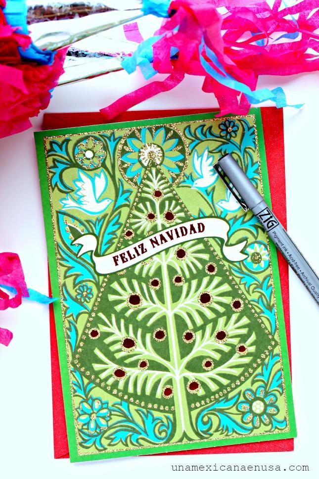 Tarjeta Hallmark de Navidad en Español con diseño de árbol de Navidad by www.unamexicanaenusa.com