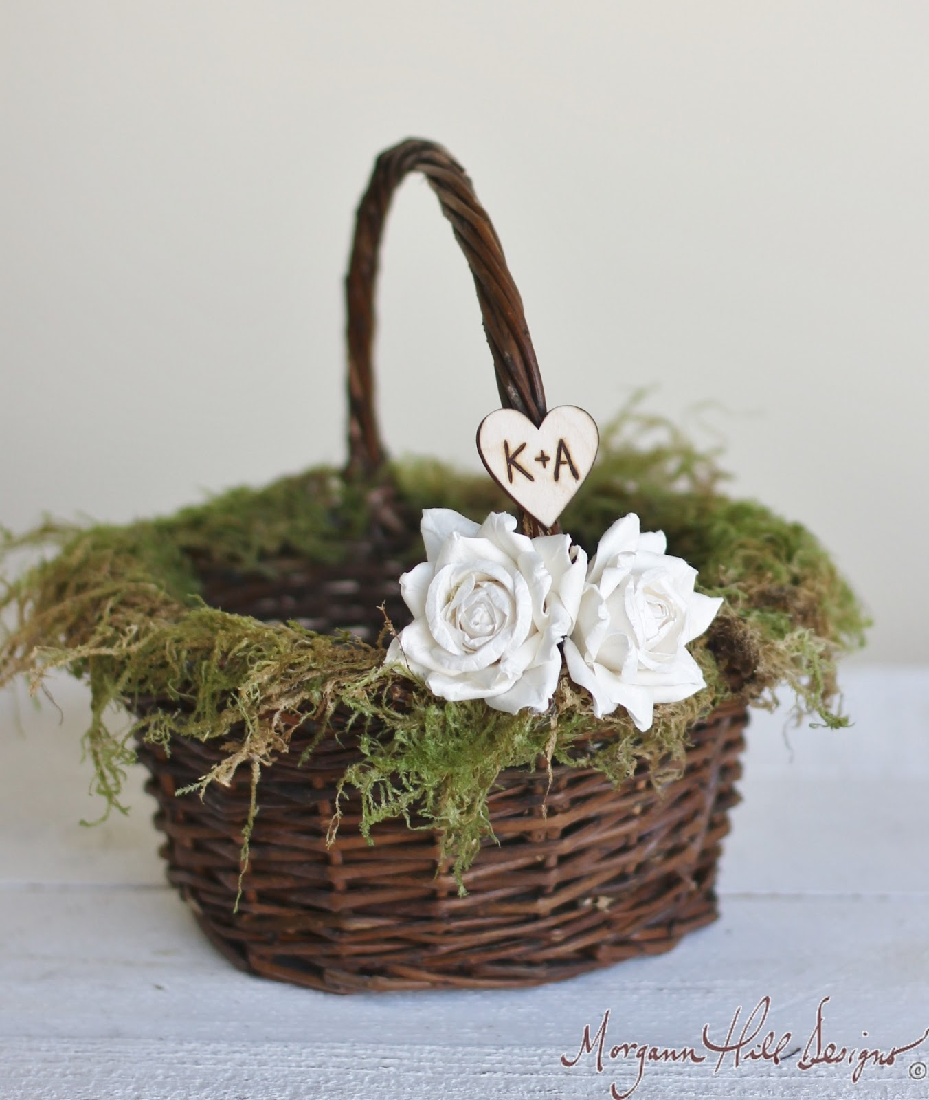Rustic Country Southern Wedding: Morgann Hill Designs: Personalized Flower Girl Basket