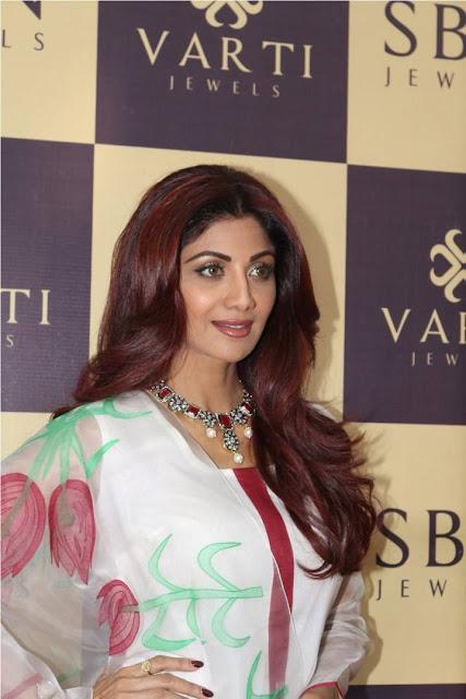 Shilpa Shetty Latest Hot Glamourous White Printed Dress PhotoShoot Images At Jewellery Showroom Inauguration