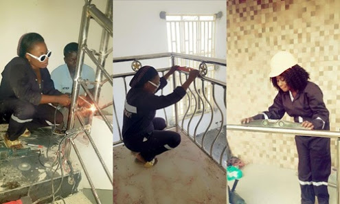 See Nigerian Female Welder Doing Her Job Professionally
