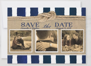 nautical save the date modern photo rope