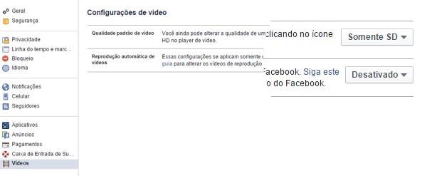 Imagem das configurações do Facebook