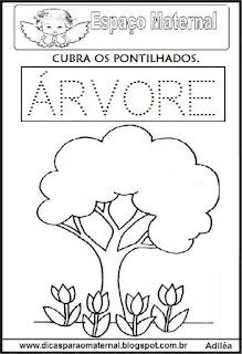 Desenho árvore primavera e maternal