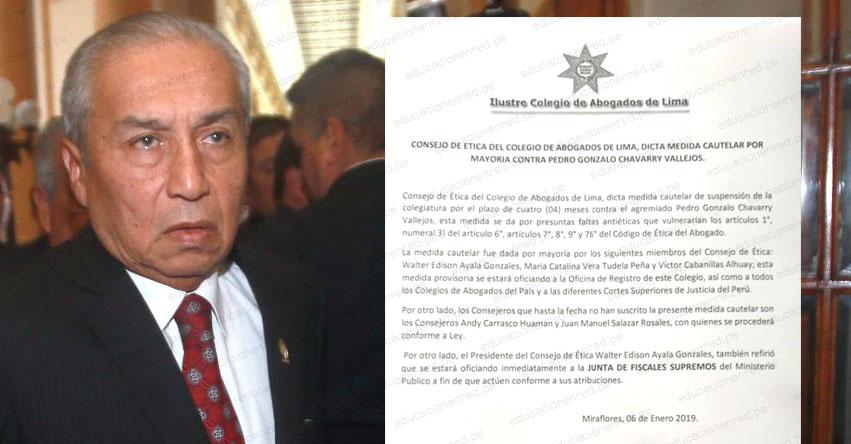 PEDRO CHÁVARRY: Colegio de Abogados de Lima suspende colegiatura de polémico fiscal de la nación