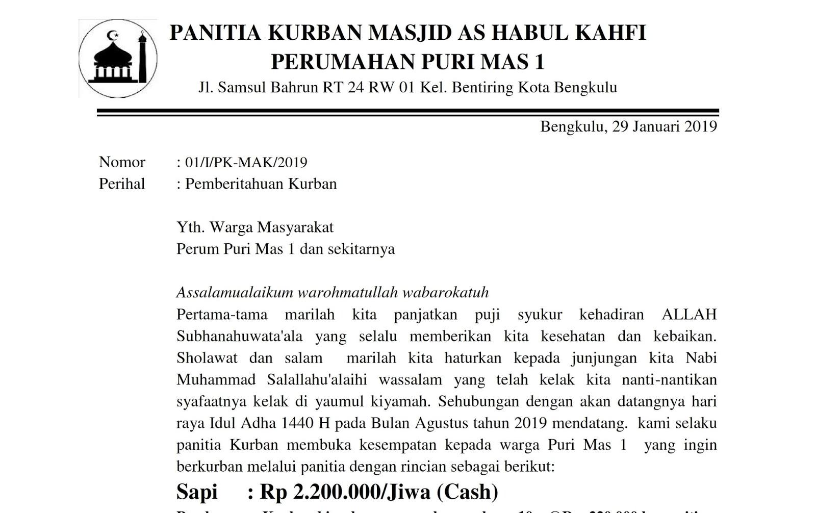Contoh Surat Pemberitahuan Kurban Masjid Petualang