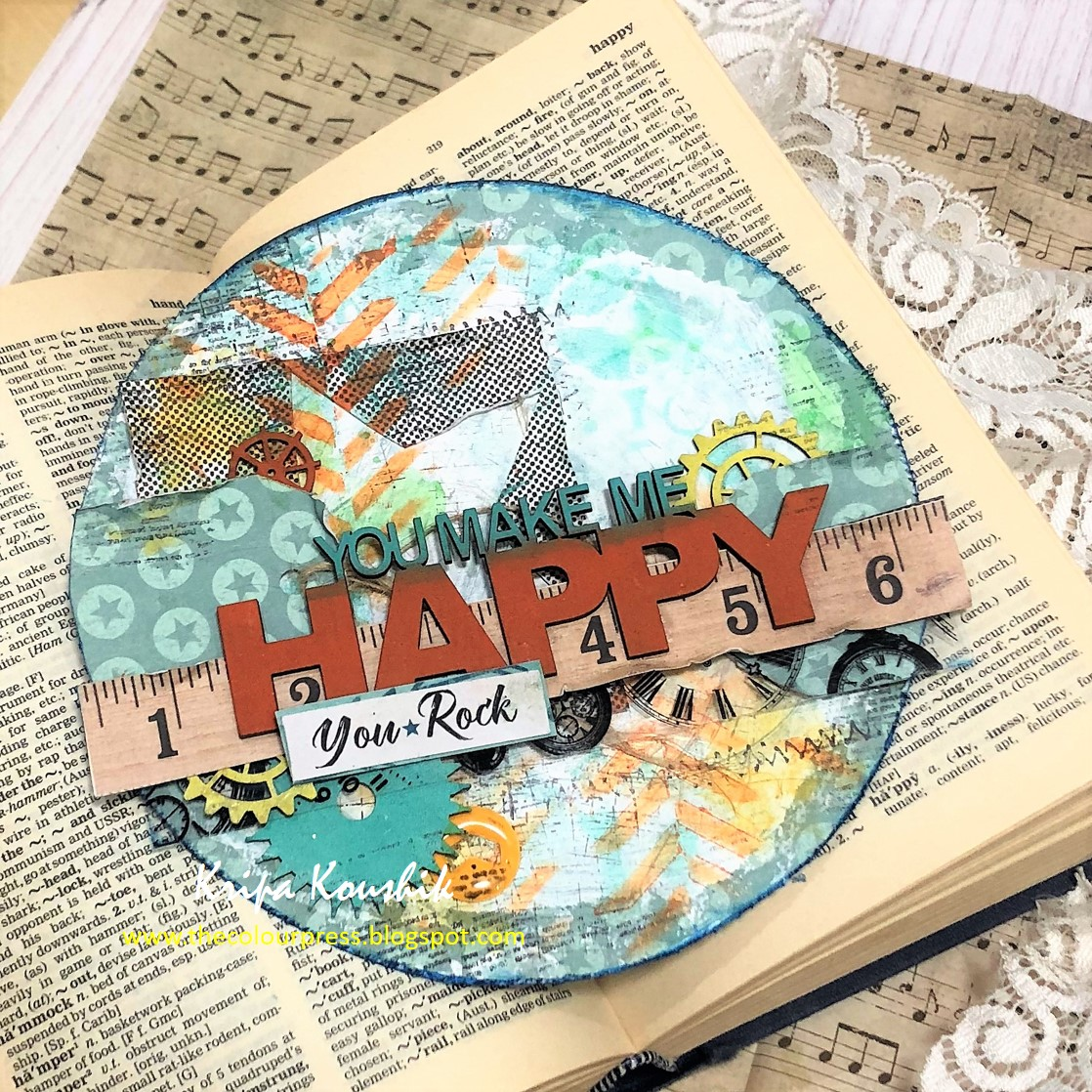 collage panel and one piece from the vintage hot air balloon set i did not apply any gesso on the tile 2crafty chipboard piece you make me happy
