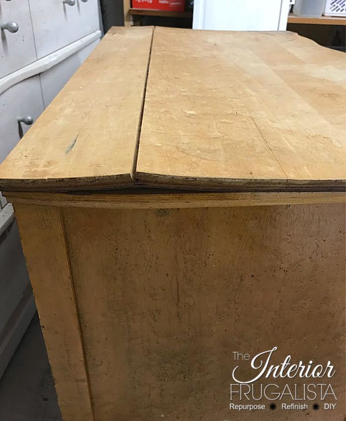 Serpentine Dresser Buckled Wood Top