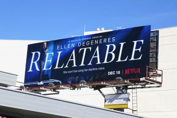 Ellen Degeneres Relatable Netflix special billboard