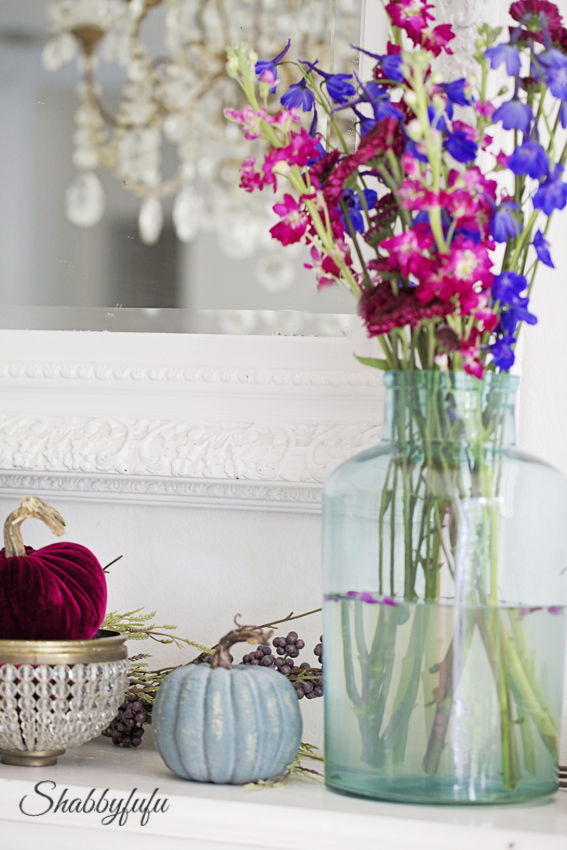 elegant fall mantel jewel tones