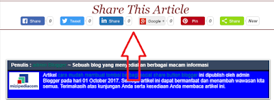 cara memasang tombol share di bawah artikel