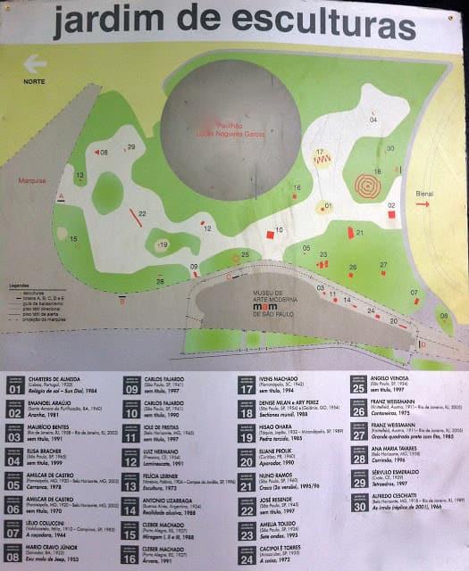 Parque Ibirapuera - Mapa do Jardim das Esculturas
