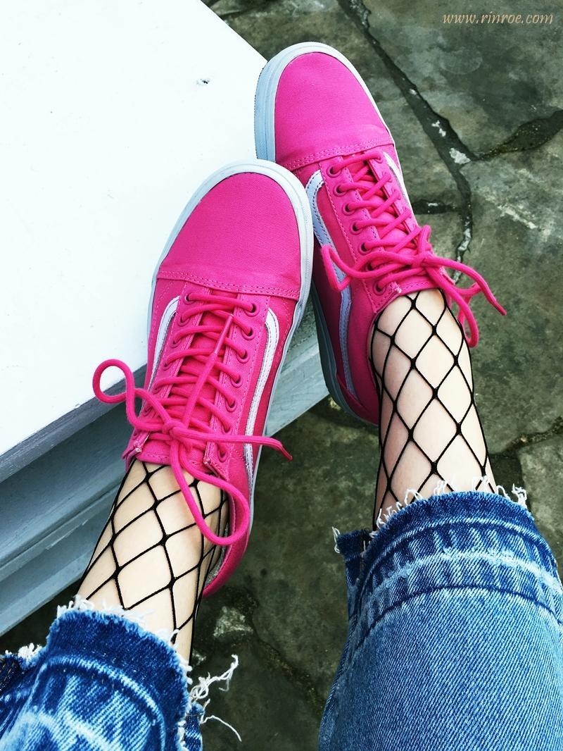 spodnie cullote, różowe vansy, pink vans, kabaretki