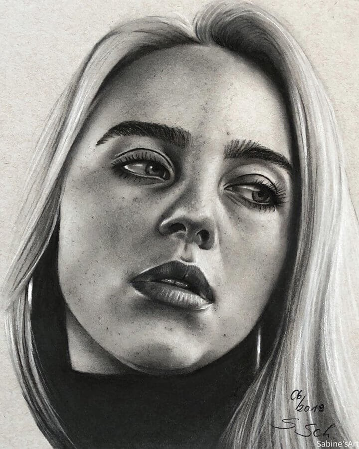 03-Billie-Eilish-Sabine-S-Charcoal-Portraits-Realistic-Drawings-www-designstack-co
