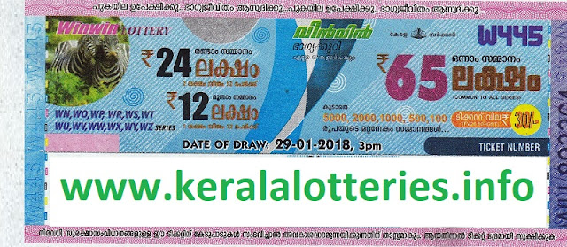 Win Win (W-445) lottery result on 29-01-2018