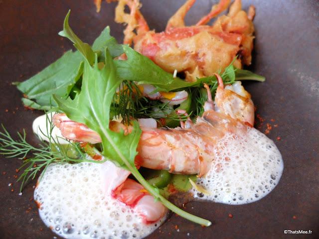 resto bistronomique menu 7 plats le galopin Paris 10eme romain tischenko top chef, crevettes sauvages et salicorne resto le galopin