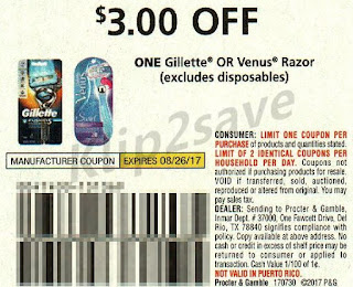 """59cb6efe373 Use (2) $3/1 Gillette/Venus Razor excluding disposables """"Limit of 2""""., PG  7/30, exp. 08/26/2017. Pay: $8.98. Receive $10.00 ECB Total= FREE + $1.02  Money ..."""