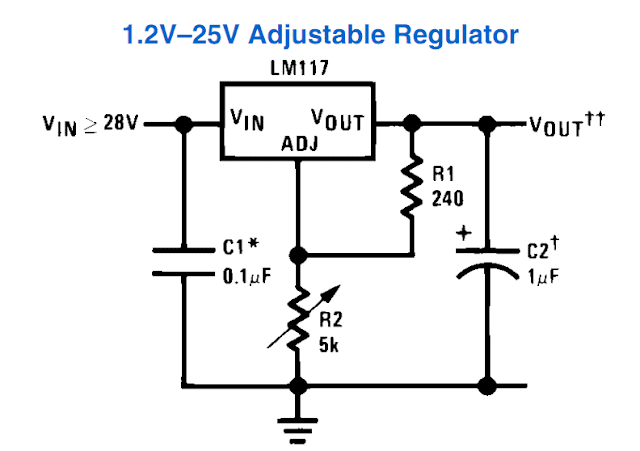 basic variable power supply circuit using LM 317 IC