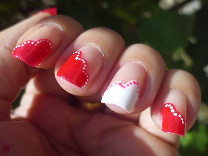 manicura roja y blanca