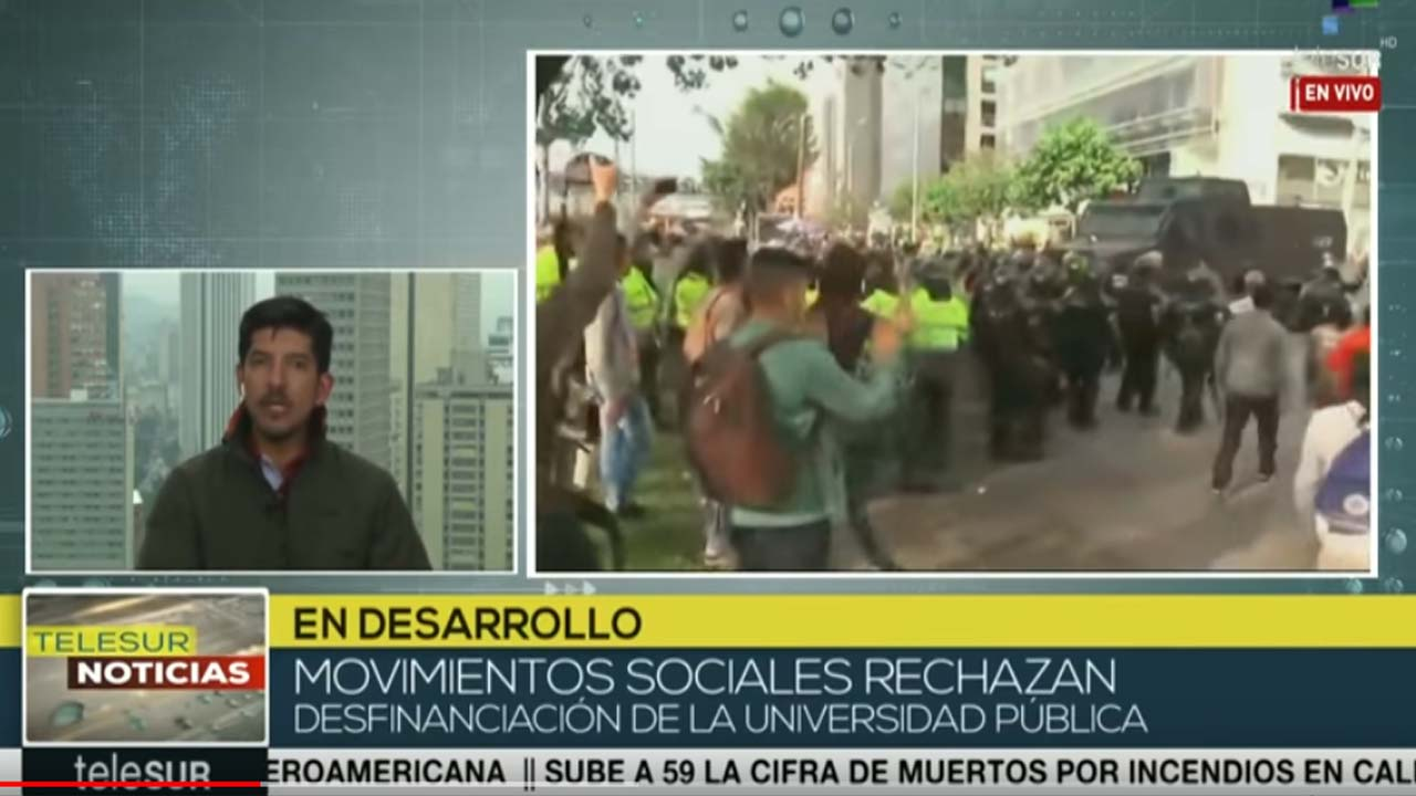 Policía colombiana reprime protesta contra Ley de Financiamiento