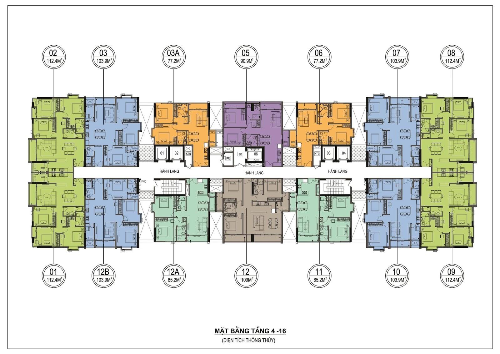 Mặt bằng tầng điển hình dự án One 18 Ngọc Lâm