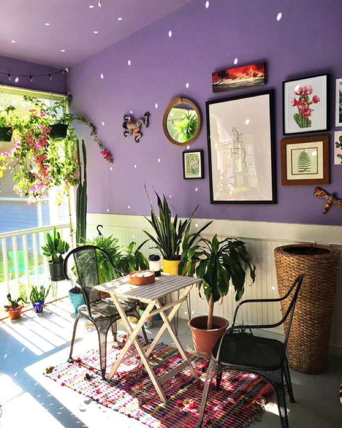 Disco ball magic on the porch- design addict mom #plants #cactus #porch