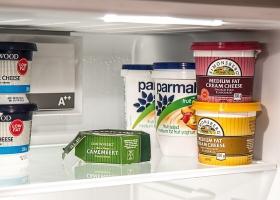 Food inside a refrigerator.