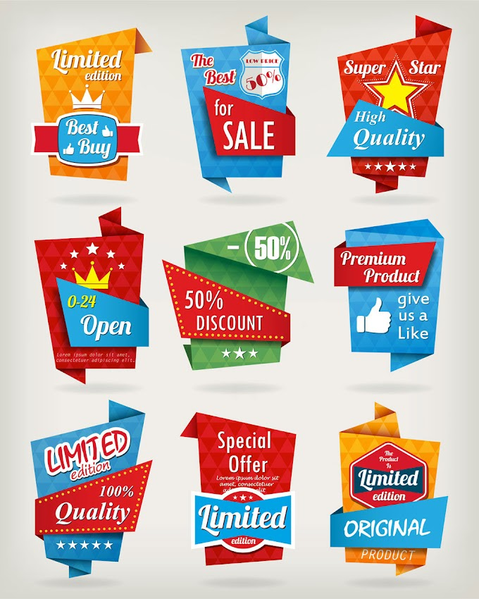 Creative color discount label vector material