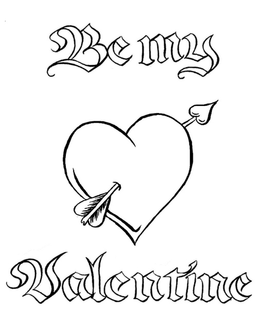 valentine coloring pages be mine - photo #3