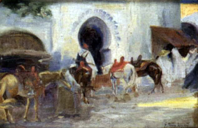 Figuras y caballos en una calle arabe, Francisco Pons Arnau, Guadarrama, Pintor español, Pintor Valenciano, Pintura Valenciana, Impresionismo Valenciano, Montañas del Guadarrama, Pintor Pons Arnau