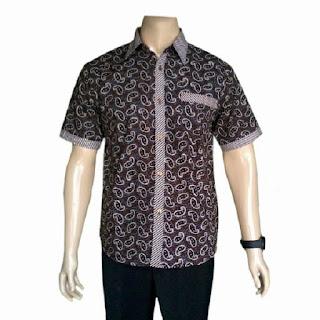 Model Baju Batik Pria Gaul Keren Slim Fit Warna Biru Terbaru