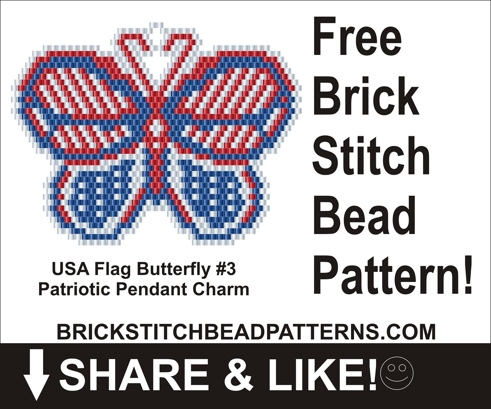 brick stitch bead patterns journal usa flag butterfly 3