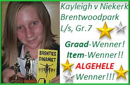Baie geluk aan Kayleigh van Niekerk met haar GROOT prestasie as Graad-Wenner, Item-Wenner én ALGEHELE Wenner by Laerskool Brentwoodpark, Benoni!