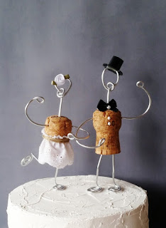recycled cork wedding cake topper