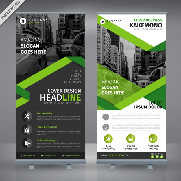 Grey and green double roll up design Free Vector