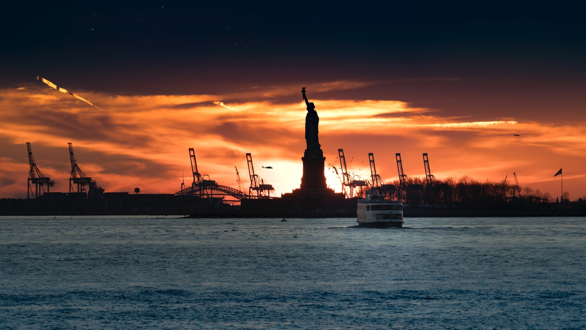 Statue of Liberty during sunset