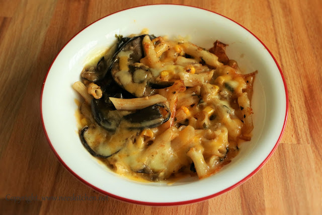 Aubergine Layered Baked Corn Cheese Quinoa Pasta