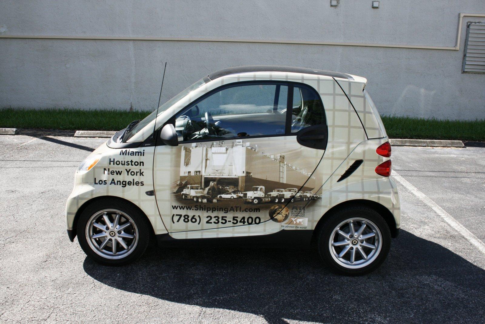 Smart Car Vinyl Wrap Miami Fl Ati Transport 3m Certified Solutions