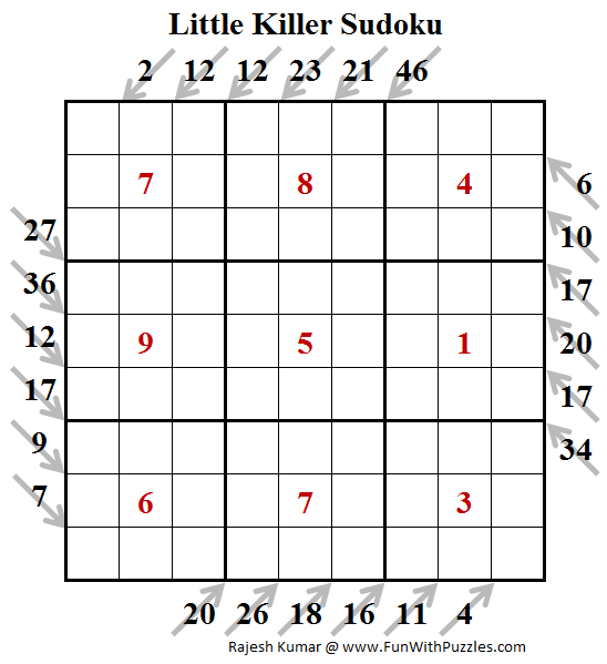 Little Killer Sudoku Puzzle (Fun With Sudoku #245)
