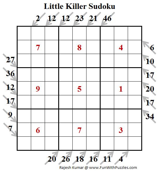 Little Killer Sudoku Puzzle (Fun With Sudoku #245)