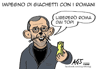 Giachetti, primarie PD, Roma, topi, vignetta, satira