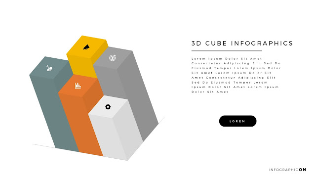 3D CUBE Infographic Elements for PowerPoint Slide 3