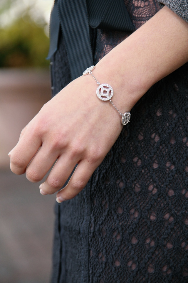 swarovski medallion crystal bracelet silver