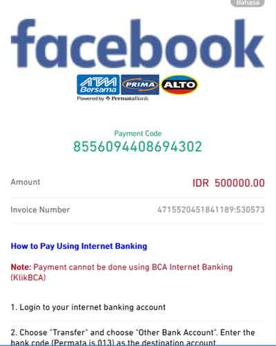 bayar iklan facebook di doku