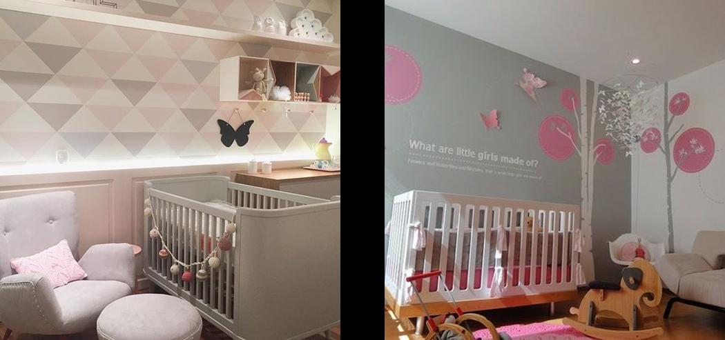 Na casa dos Abrantes Quarto do bebê rosa com cinza