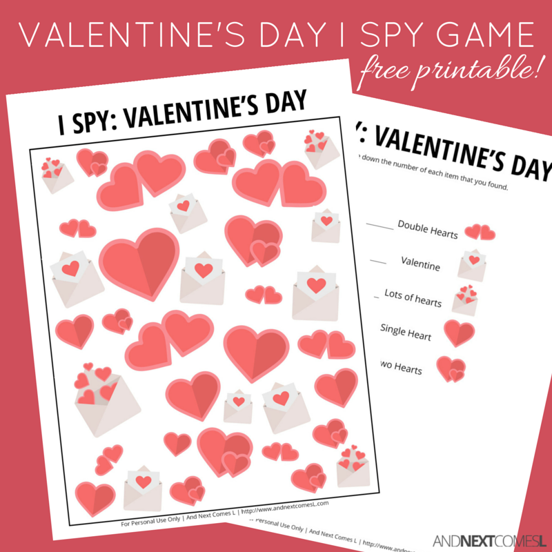 free printable valentines day i spy game for kids from and next comes l - Valentines Day Game