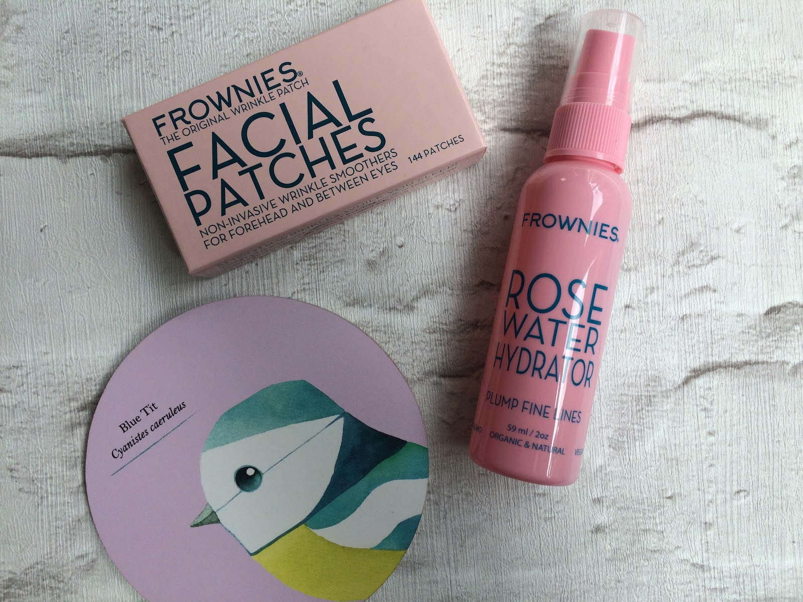 Frownies Facial patches, forehead and between the eyes and rose water hydrator